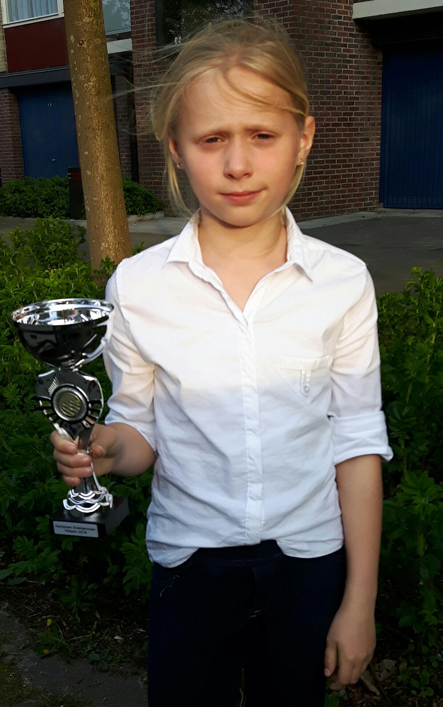 10 jarige Demi Peters Gronings Kampioene sneldammen